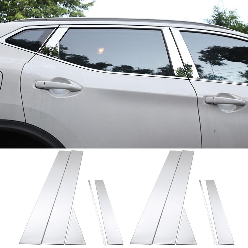 Pour Nissan Qashqai J11 2014 2015 2016 2017 2018 De Voiture en acier Inoxydable Poteau de Fenêtre Couvre Garniture Autocollant Accessoires Externes