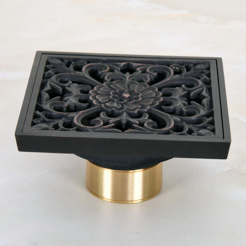 "Black Oil Rubbed Bronze Carved Flower Pattern Bathroom Shower Drain 4"" Square Floor Drain Waste Grates ahr049"