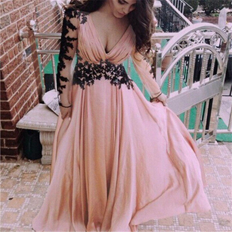 Simple Long   Prom     Dresses   Backless Appliques Chiffon   Dresses   Woman Formal Homecoming   Dress   Cheap Real Photo Robe De Soiree 2019