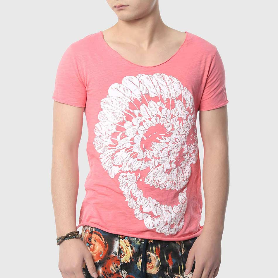 Men skull t shirt print t shirt v neck fashion cotton for Print photo on shirt