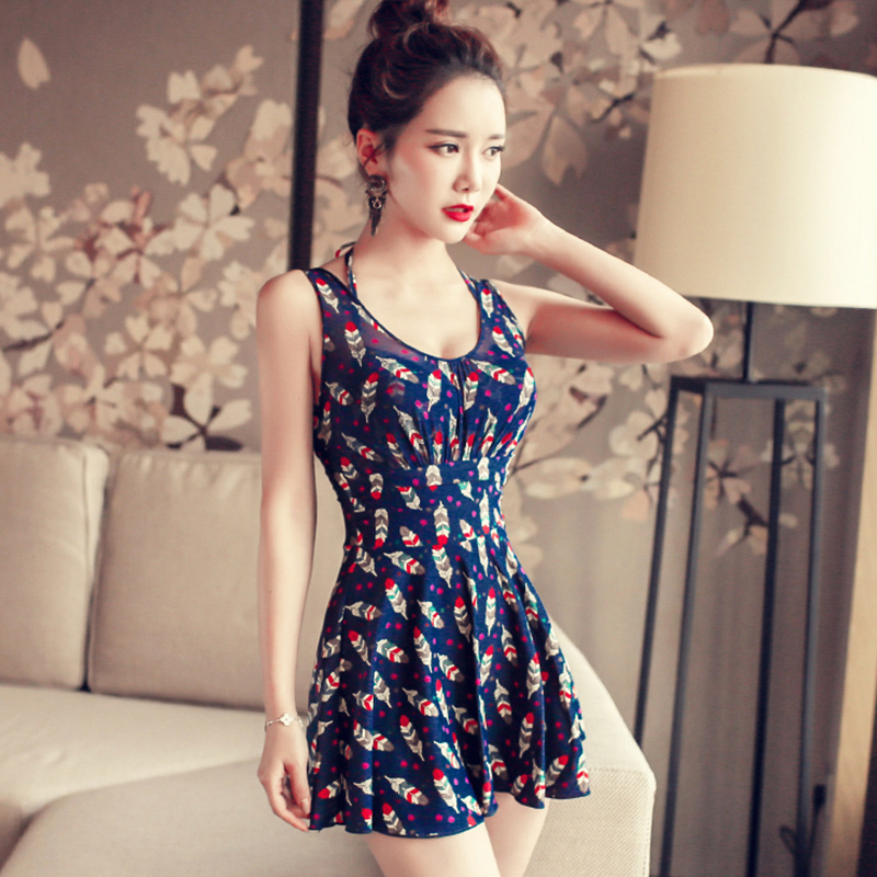 ФОТО NIUMO NEW Swimwear Woman One-piece Swimsuit Skirt Style Swimsuit Small Chest Gather Together Large Size Hot Spring Swimsuits
