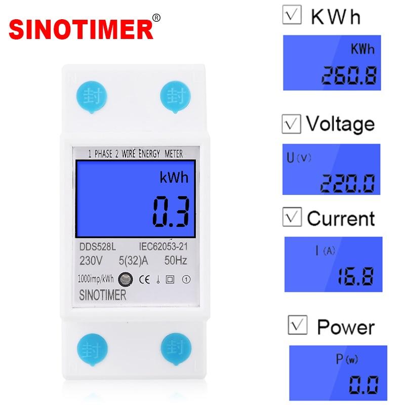 Home DIN Rail LCD Digital Display Power Consumption KWh Meter Single Phase Energy Meter Watt Wattmeter  230V AC 50Hz