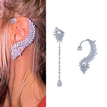 New Simple Luxury Cubic Zircon Drop Earrings for women Asymmetrical Crystal Tassel Earring brincos Fashion jewelry