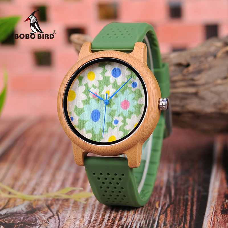 BOBO BIRD B04 Unisex Wooden Watch Floral Prints Dial Womens Bamboo Quartz Watches With Green Silicon Band Kol Saati