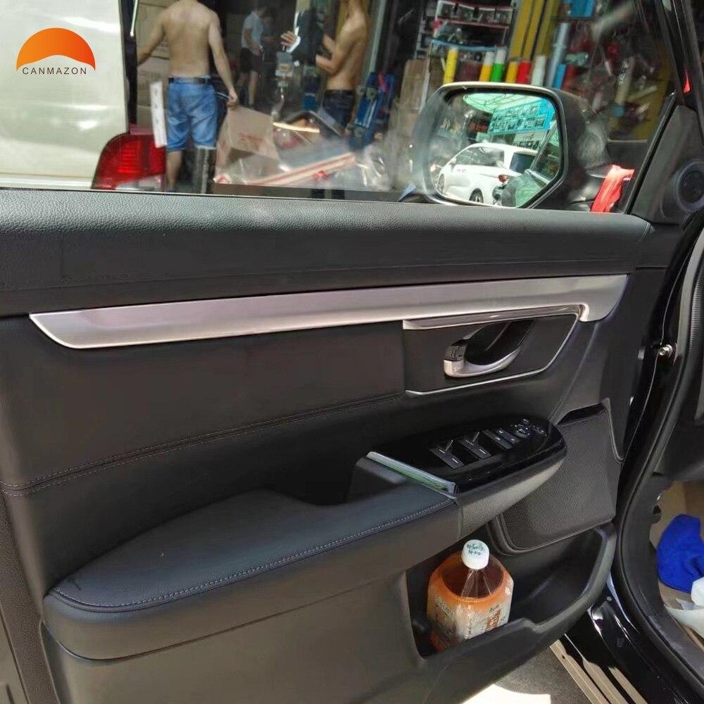 For Honda CRV CR-V 2017 2018 ABS Matte Inner Car Door Moulding Cover Trim Inner Door Armrest Decoration Cover Trims Sticker 4pcs exterior 4pcs abs chromed lower door