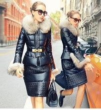 Freeshipping Design Hotsale Women's Fashion Winter 2015 Down Coat Luxury Fur Collar PU Down coat Female Short Set