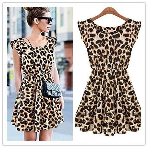 035636360 Sexy vestido de chiffon vestido de festa curto senhora Leopardo ...