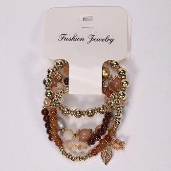 Fashion Multilayer Crystal Beaded Bracelets Bracelets Jewelry Women Jewelry Metal Color: brown