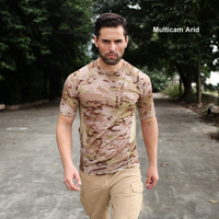 Multicam Camouflage Quick dry Short Sleeve Tactical Shirt Lightweight Tight Compression Shirt Mesh Patch Breathable T Shirt