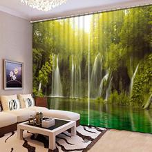 Cortinas opacas personalizadas 3D cascada paisaje ventana cortina cama Sala sala de estar cortinas de estilo vintage