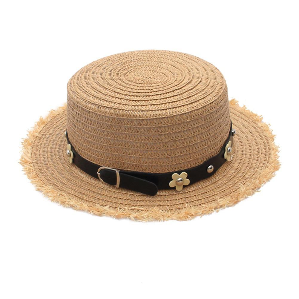 Rough Selvedge Straw Sunhats Summer Cute Daisy Rivets Sunshade Hat Raw-edge Design Flower Beach Cap Gift Ornament San0 With A Long Standing Reputation