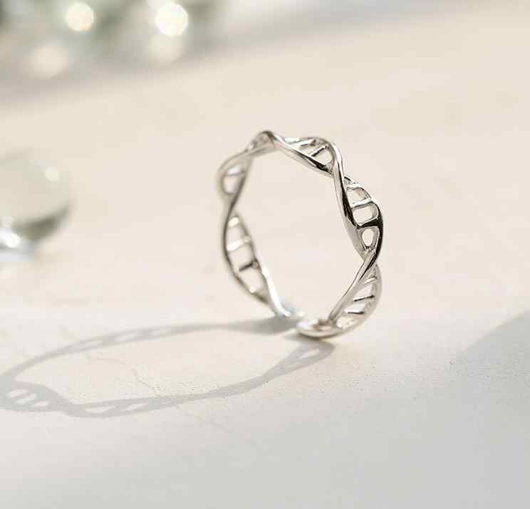 Jisensp New Fashion DNA Adjustable Ring for Women Chemistry Molecule Rings Double Helix Ring Minimalist Ring SYJZ080