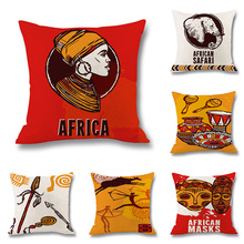 African Decor Cushion Cover Tribe Style Linen Decorative Pillowcase Retro Sofa Seat Bedroom Pillow Covers Home Accessories 45x45