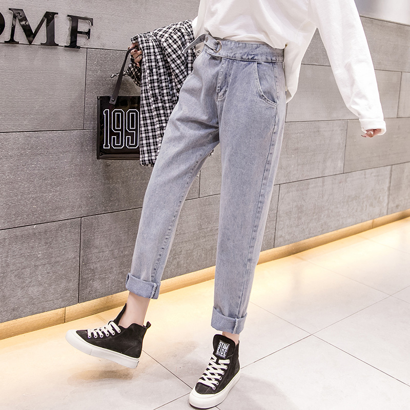 2019 spring new wild long Korean street casual wild straight women's jeans ankle-Length pants 3