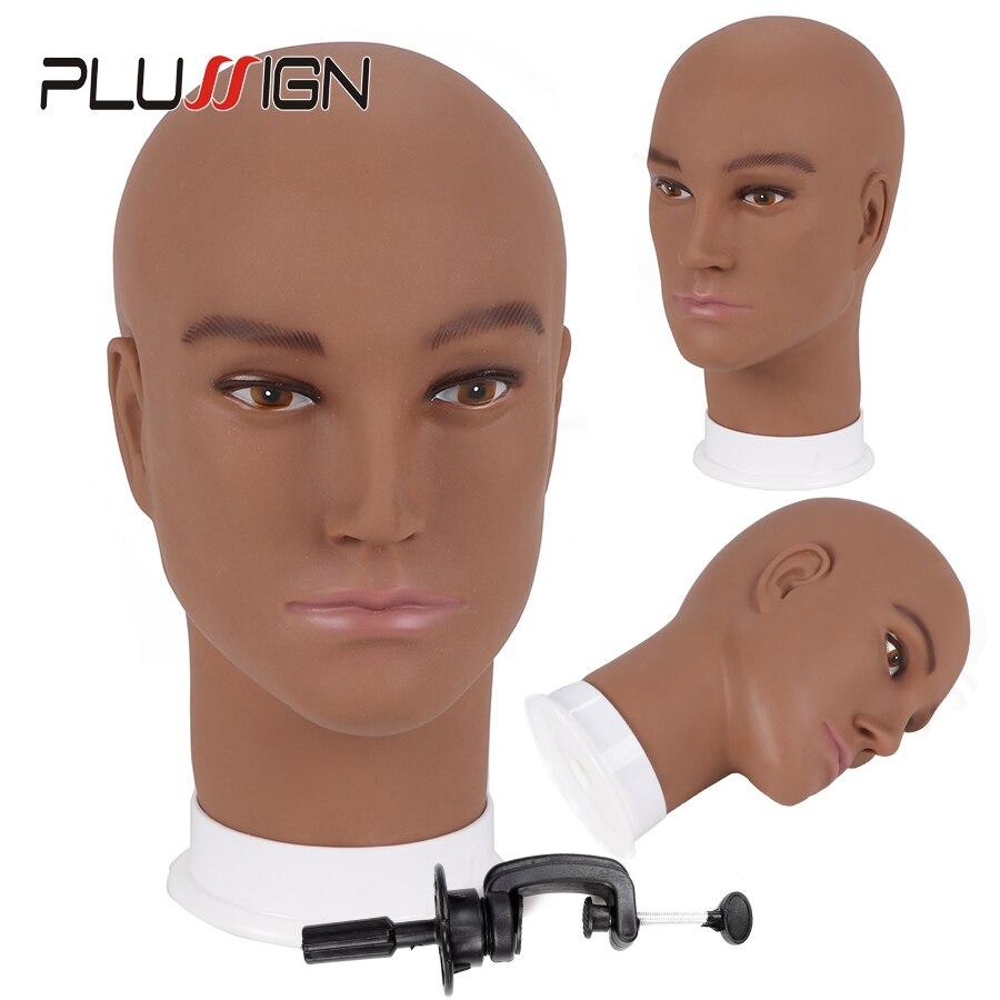 Plussign Exibição Manequim Modelo de Cabeça Peruca Cabeça de Espuma de Pvc Com Base de Maquiagem Cílios Formação Prática Manequim Modelo de Cabeça Careca
