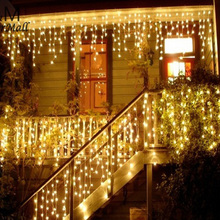 3.5m LED Icicle lights Xmas curtain fairy garland light for Christmas light indoor outdoor Wedding home garden party decorations beiaidi 3x0 65m heart shape curtain icicle led string light romantic xmas wedding party window curtain garland indoor lighting