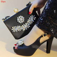 Latest black African Shoes And Bag Set For Party High Quality Italian Ahoes And Bags To Match Women!HLX1 6
