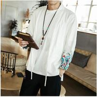 Mens Chinese Style Shirt Male Casual Tang Suit Embroidery Shirts Long Sleeve brand clothing Free Shipping Asian Plus Size 5XL