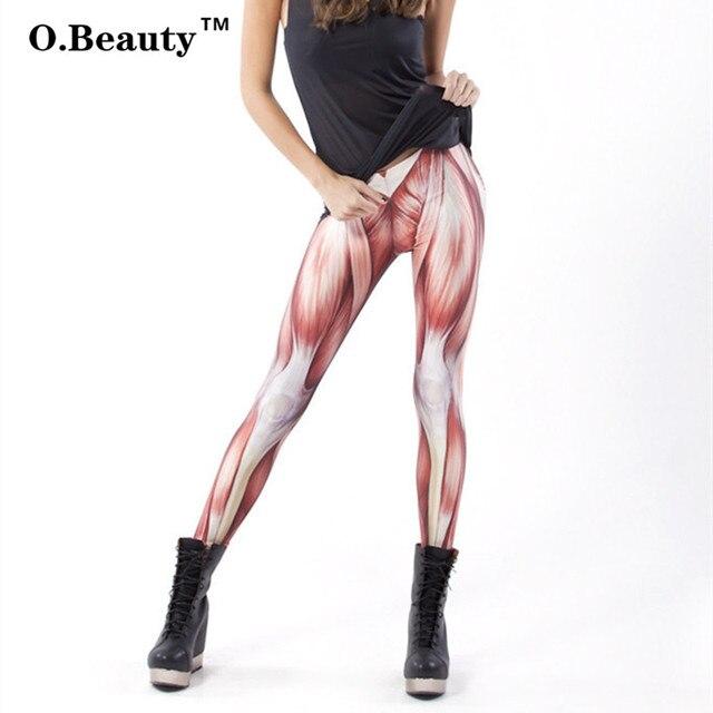 Hot Salling New Fashion Women Leggings Punk Rock Harajuku Muscle Print Woman Casual Sexy Shiny Slim Pants Gothic Legging