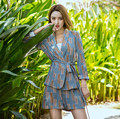 New Women Spring Summer Suit set Vintage Floral Printing Two pieces Suit Collar Long Sleeve Sashs Fitness coat and shorts