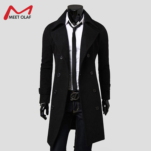 a23124920f6 US $40.25 |Wool Coat Men Casual Male Overcoat Winter Double Breasted Long  Jacket Fashion Solid Trench Coat Parkas Slim Fit Outwear YL2198-in Wool &  ...