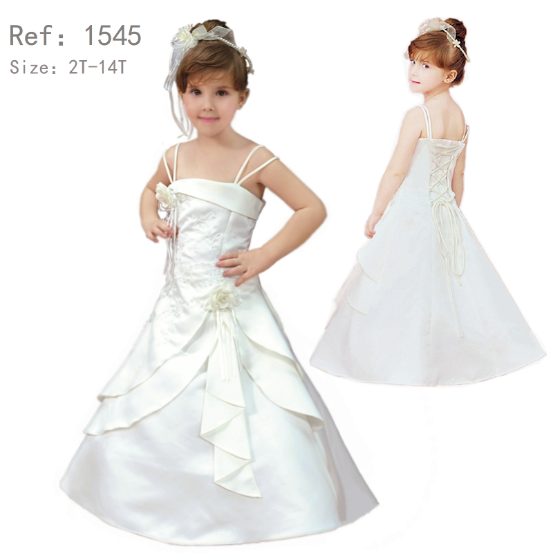 Hot Sales 2T-14T Pure White First Communion Dress Embroidery Ankle Length Big Size Ivory Formal Satin Dresses For Girls 14 Years mccarthy t satin island