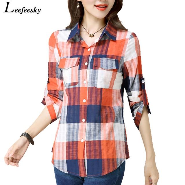b4c5692ac9a New Arrivals 2017 Autumn ladies checked shirts Women Casual Vintage Long  Sleeve Cotton Linen Plaid Shirt Women Top Femme Blusas
