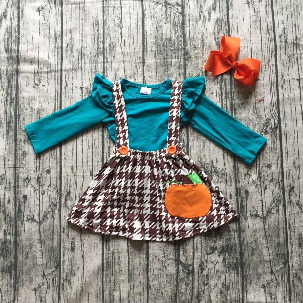 girls kids Fall halloween clothing children blue top with Azect skirts sets punkpkin dress Hallween party clothing with bows