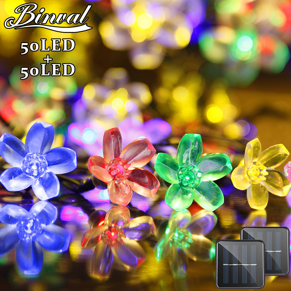Binval Solar Cell Led Bulbs Wedding Decoration Mariage Holiday Lighting Peach Led Decoration Lights Garlands Fairy Lights