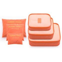 6 pçs/set moda grande capacidade zíper náilon à prova dwaterproof água bolsa de viagem feminina organizador de bagagem saco de embalagem cubo