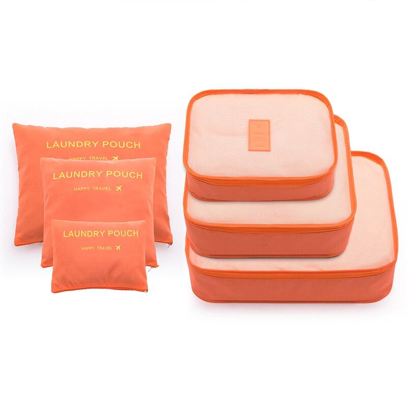 6 unids/set moda de gran capacidad de Nylon de la cremallera impermeable de mujeres bolsa de viaje equipaje bolsa organizador bolsa de embalaje cubo hombres viaje bolsa