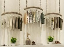 Womens clothing store decoration rack display rack, ceiling simple retro hanging clothes