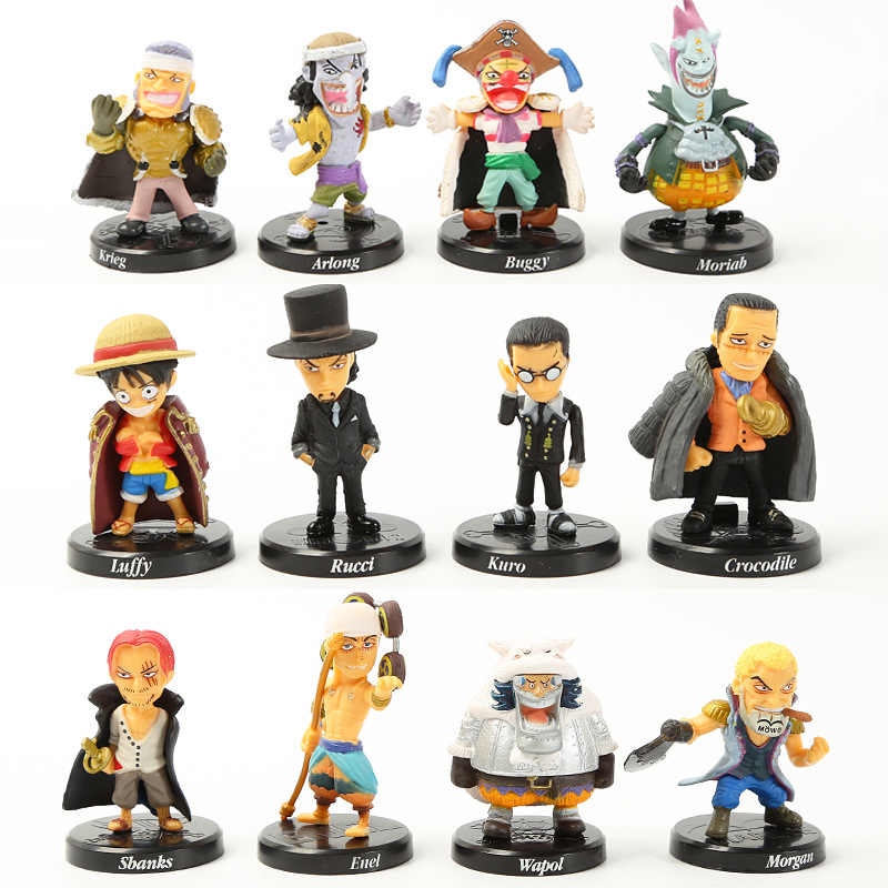 12pcs/set Anime One Piece Luffy Chopper Dracule Mihawk Going Merry Shanks PVC Action Figure Collectible Model Christmas Gift Toy