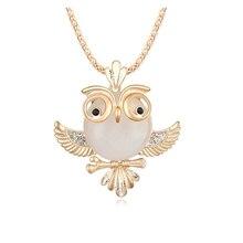 High Quality Vintage Necklace Zinc Alloy Crystal Jewelry Owl Necklace Pendant Long Popcorn Chain Necklace Cute Neckalce