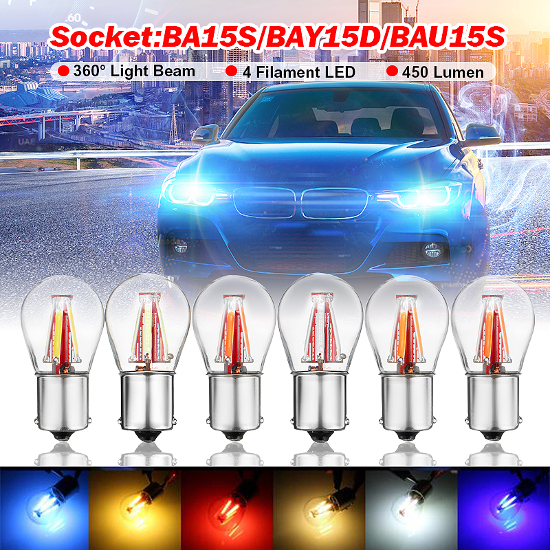 Car COB LED Light Lamps BA15S(1156) BAY15D(1157) BAU15S(1156) 12V 24V 450LM 360Deg 4 Leds Turn Signal Light Reserve Backup Lamp