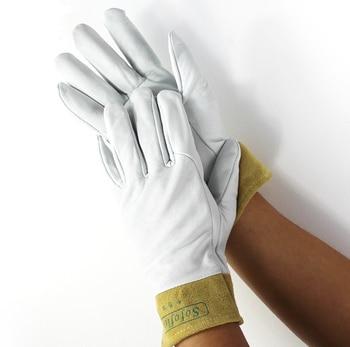 Arc Welder Driver Grain Goatskin TIG MIG Goat Leather Welding  Work Gloves welding gloves gas welder gloves cowhide high temperature heat resistant arc tig mig leather work gloves