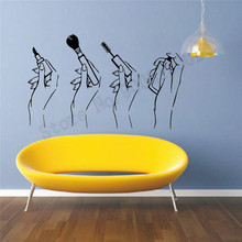 Women Hands Make up Wall Decoration Art Vinyl Removeable Room Sticker Beauty Salon Poster Fashion Modern Ornament LY767