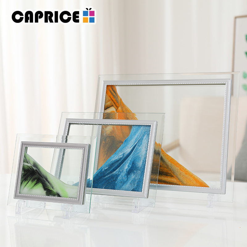 Moving Sand Picture Frame Liquid Landscape Painting Glass Photo Desk ...