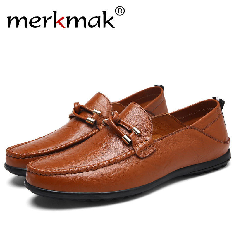 Merkmak 2018 New Comfortable Casual Loafer Men Shoes High Quality Cow Leather Handmade Men Flats Footwear Business Driving Shoes cyabmoz 2017 flats new arrival brand casual shoes men genuine leather loafers shoes comfortable handmade moccasins shoes oxfords