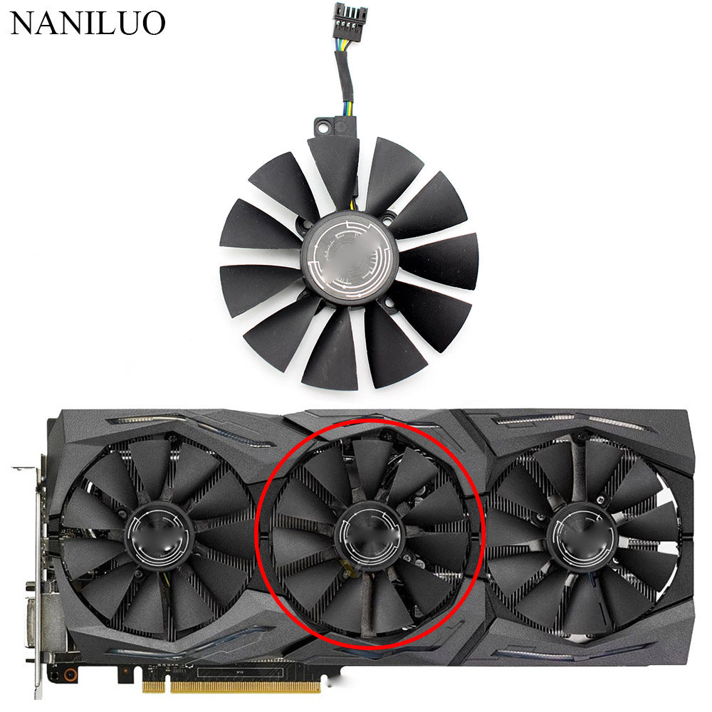87MM T129215SM 5Pin 0.25A Cooler Fan For ASUS ROG Strix GTX 1080 Ti 1070 1060 RX 480 580 Graphics Card fan GTX1080Ti fan image