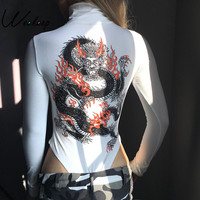 Weekeep Women Dragon Printed Back Turtlenek Sexy Slim Bodysuits 2017 Skinny Long Sleeve Jumpsuits White Rompers