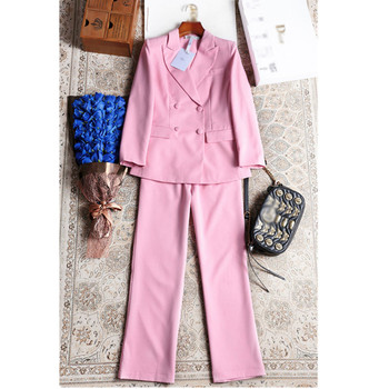 Customized new hot fashion women's women's pink double-breasted suit two-piece suit (jacket + pants) ladies business formal suit