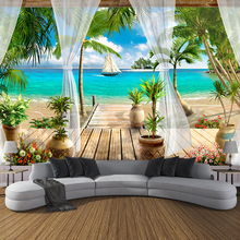 Custom 3D Photo Wallpaper Balcony Sandy Beach Sea View