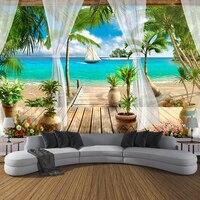 Custom 3D Photo Wallpaper Balcony Sandy Beach Sea View 3D Living Room Sofa Bedroom TV Background