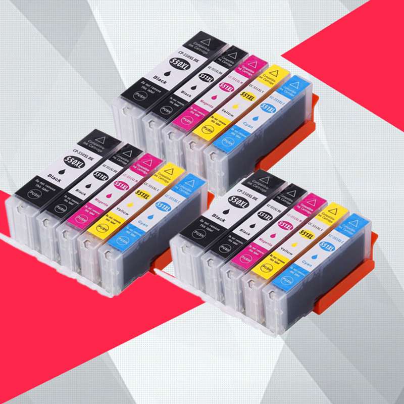 15PK pgi550 pgi-550 cli-551 чернильный картридж для принтера canon PGI550 CLI551 PIXMA IP7250 MG5450 MX925 MG5550 MG6450 MG5650 MG6650 MX725