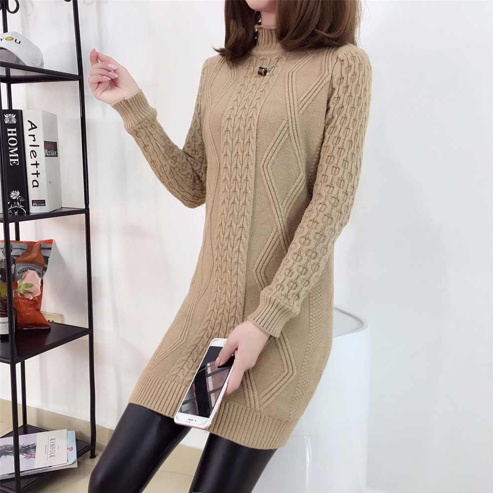 Женский пуловер средней длины, новинка 2019, Осень-зима, свободный, размера плюс, с высоким воротником, топы для девушек, внутри, набор, толстое, вязаное пальто для женщин