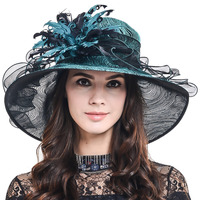 HISSHE Lady Charming Kentucky Derby Church Wedding Dress Hat Women Luxury Feather Hat Female Distinctive Tea Part Summer Hat