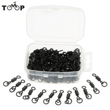 100pcs/lot Fishing Lure Connector Q Type Fishing Swivel Rolling Swivel Solid Ring Sea Fishing Accessories Tackle Tools