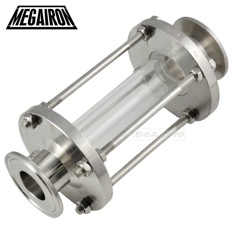 MEGAIRON Tri Clamp Type Flow Sight Glass Diopter For Homebrew Diary Product Stainless Steel SS316 Pipe