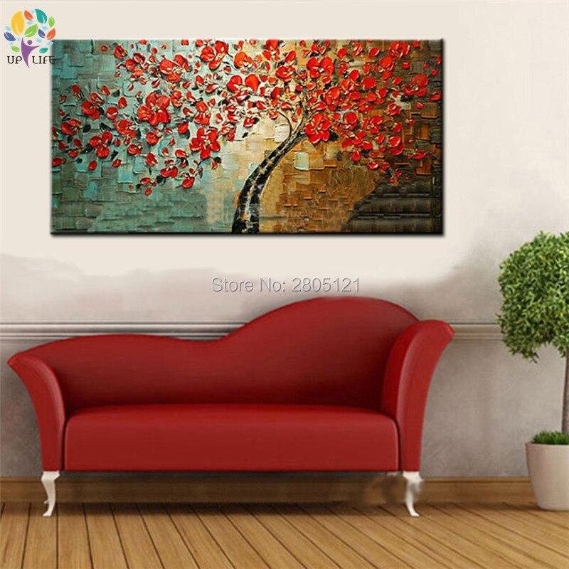 ručno oslikana slika drveća cvjetnim uljem na platnu veliki jeftini - Kućni dekor